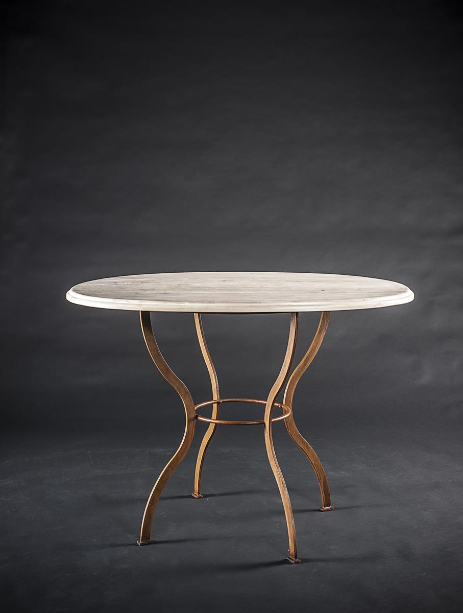 Tavolino ovale shabby gambe in ferro battuto e piano in - Tavolo ferro battuto e vetro ...