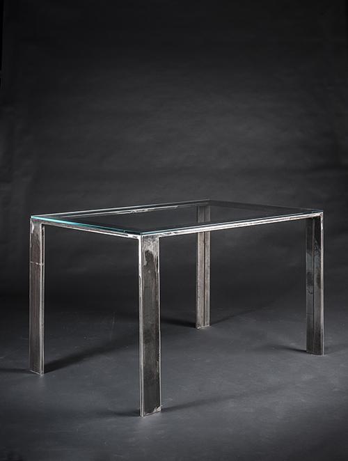 Tavolo design quadrato in lamiera di ferro corten effetto ruggine complementi di arredo - Tavolo cristallo rettangolare usato ...
